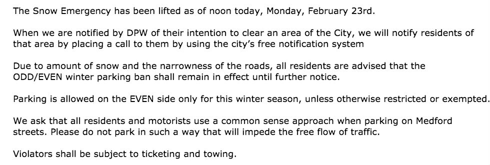 winter parking update