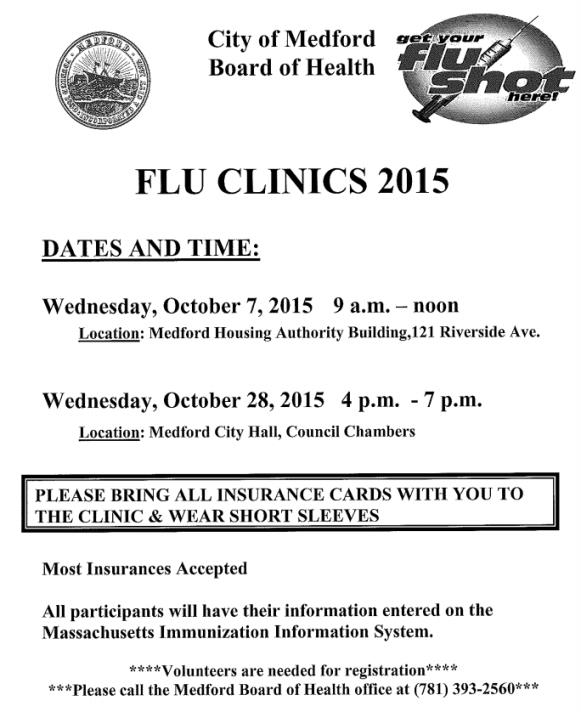 October 2015 flu clinics