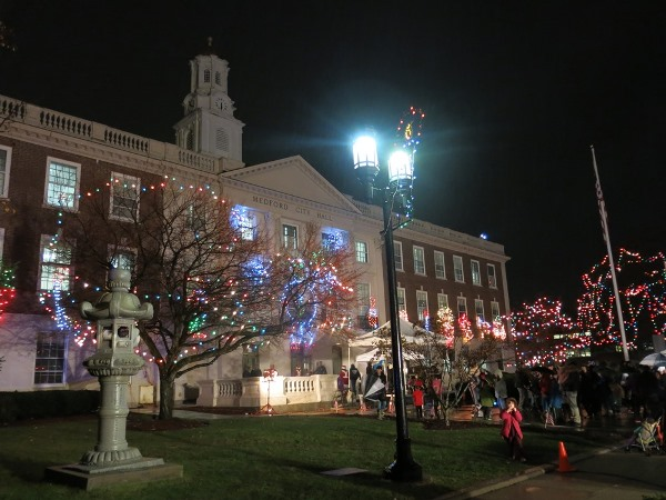 City Hall with holiday lights