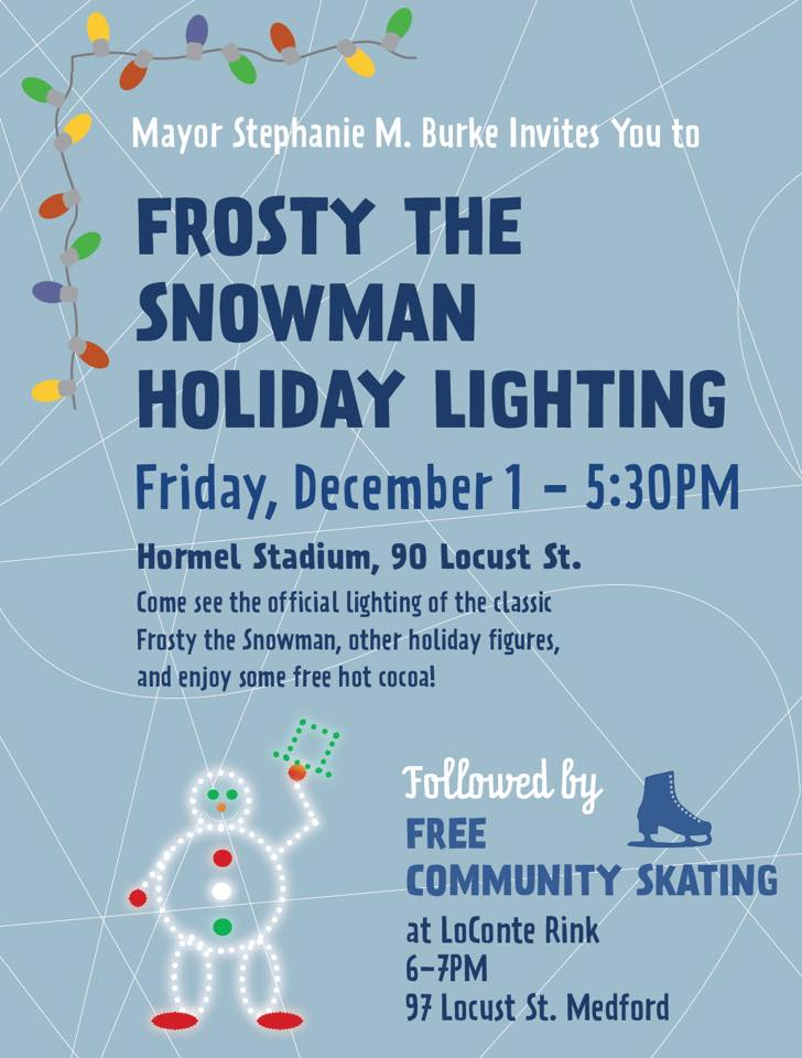 frosty holiday lighting 5:30 hormel stadium medford